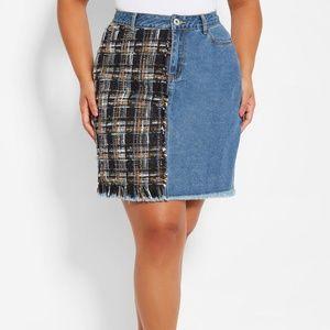 Ashley Stewart Boucle Inset Denim Jean Skirt